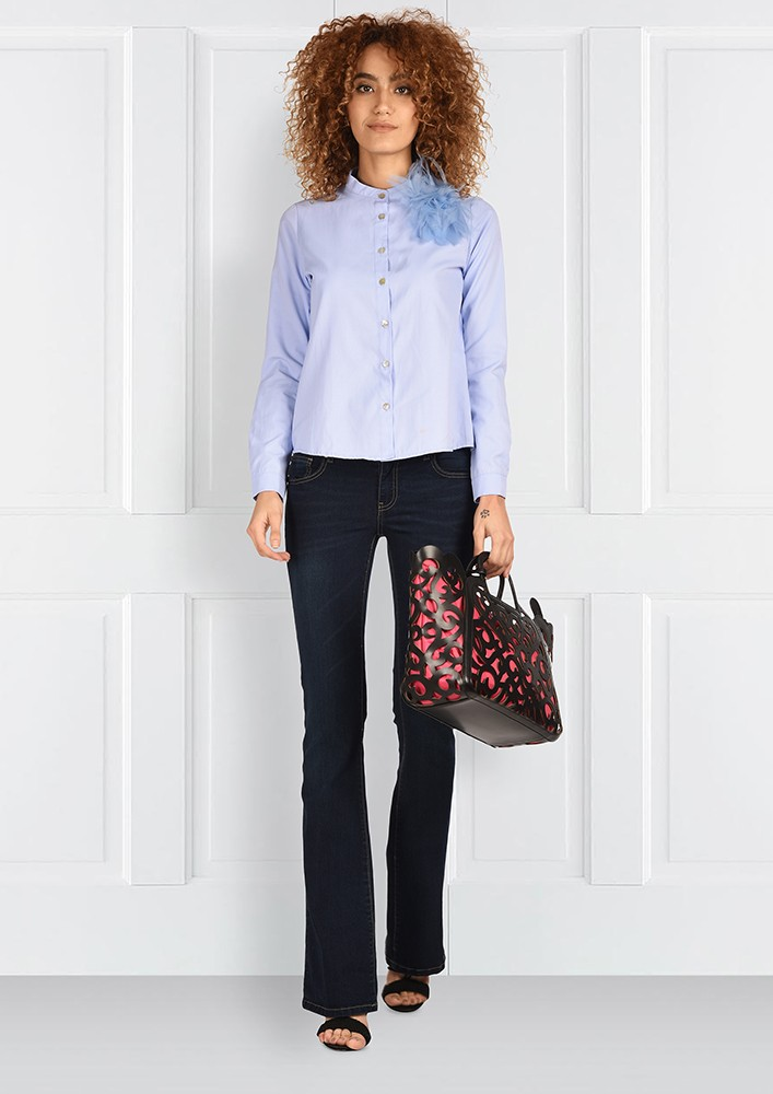 Classic Blue shirt with flower brooch