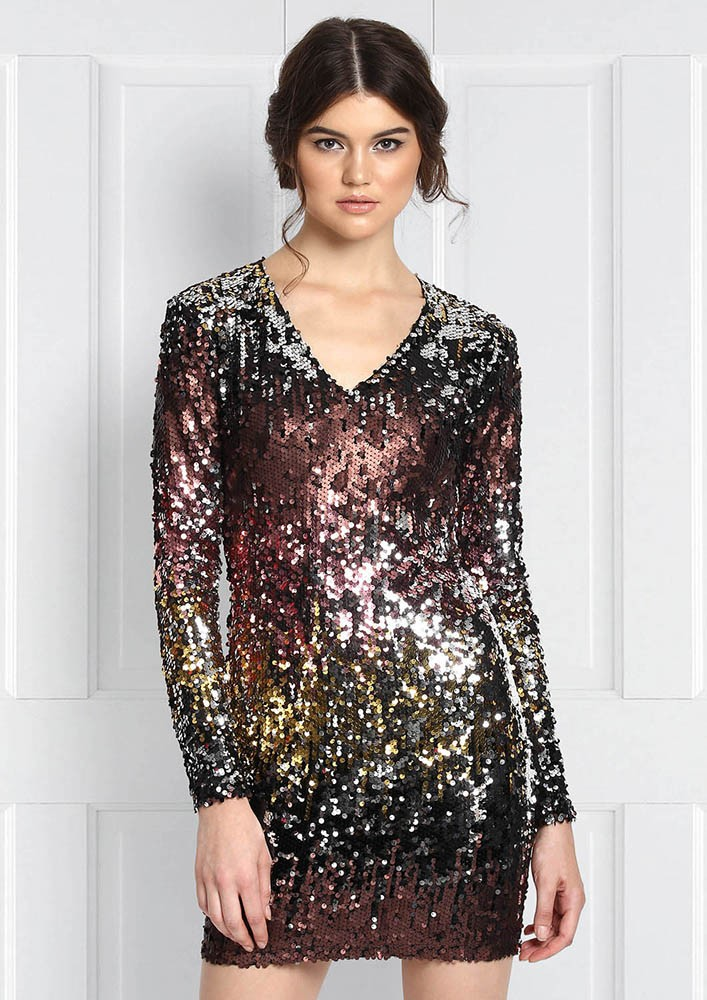 OMBRE SEQUINNED DRESS