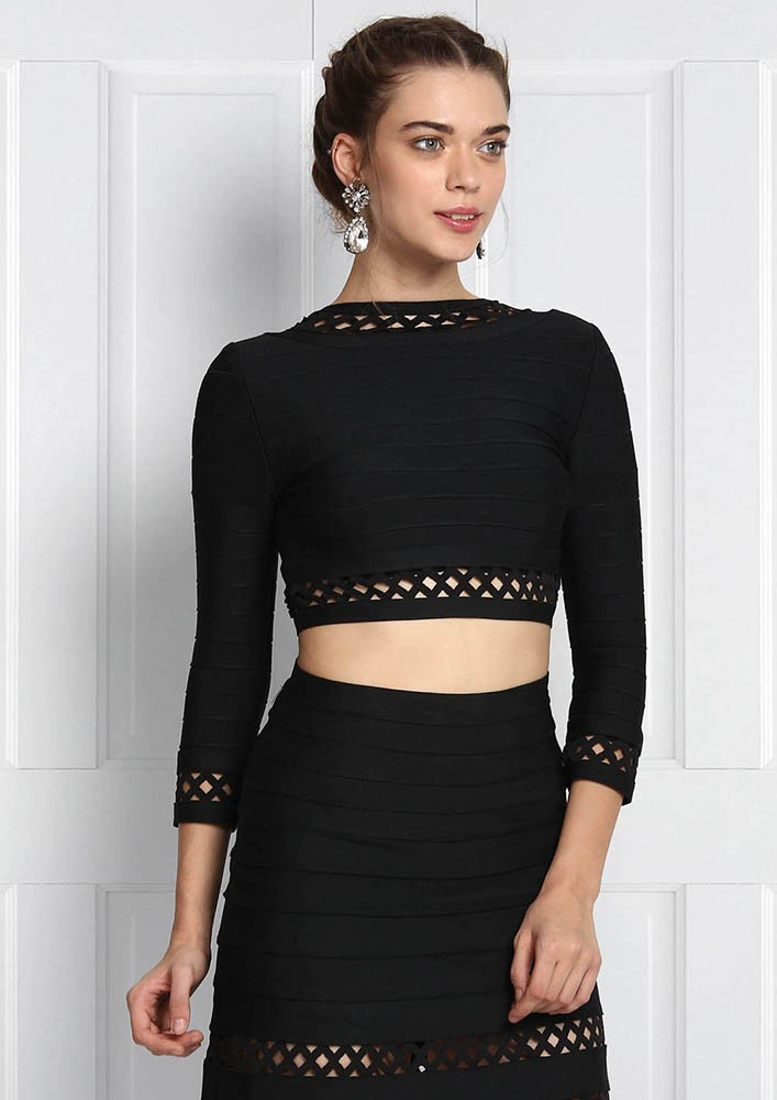 BLACK CUT-WORK TWO-PIECE