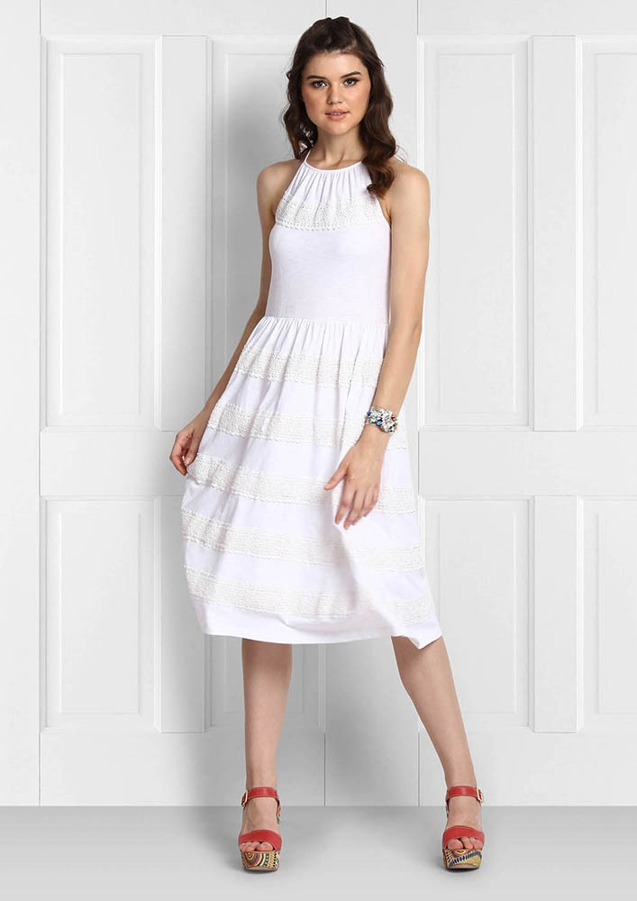 HUES OF WHITE HALTER DRESS