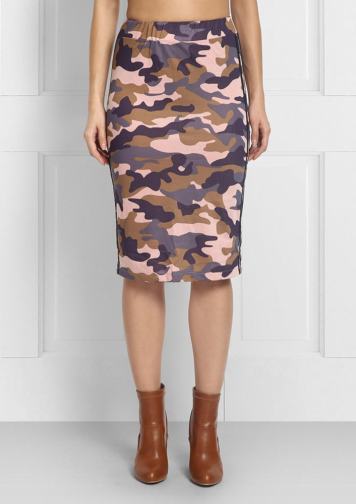 Camouflage Print Pink Pencil Skirt