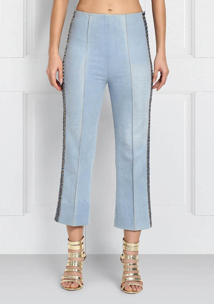 ROSE ROOM PRET - CROPPED DENIM PANTS WITH EMBROIDERY