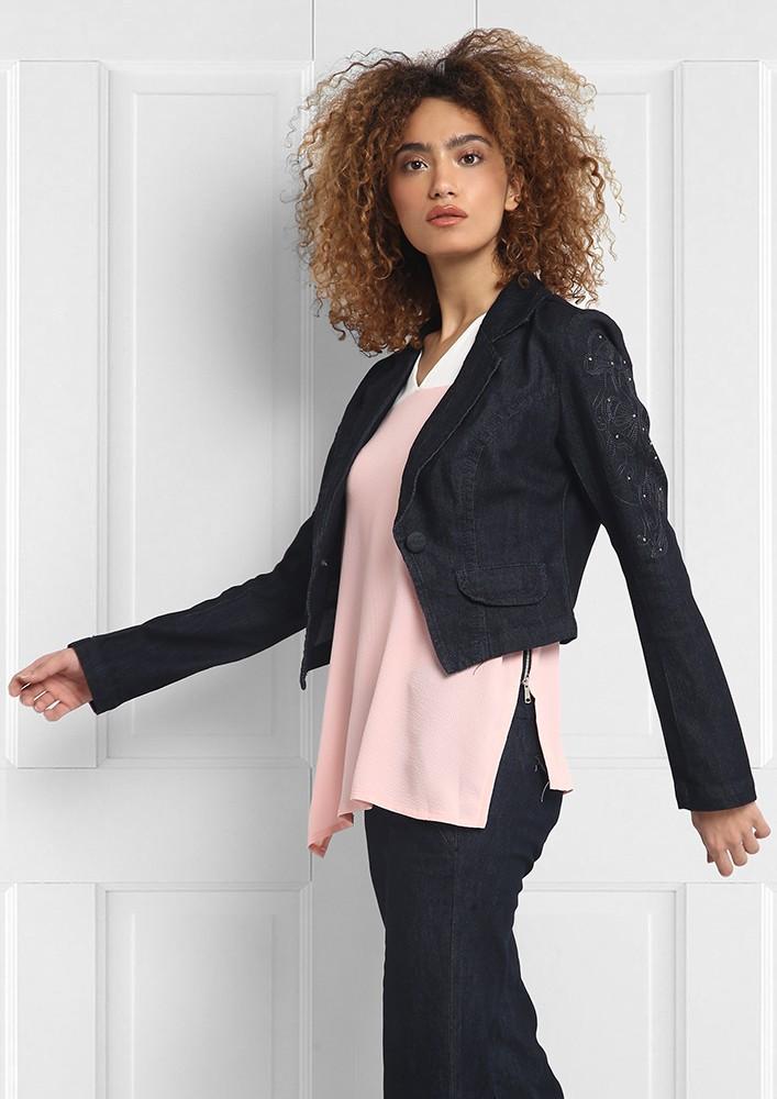 Embellished crop jacket
