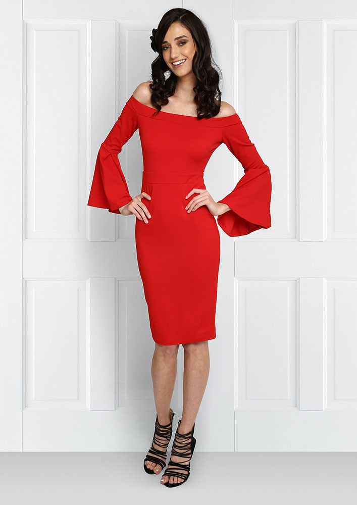 Red Bardot Dress with flared sleeves