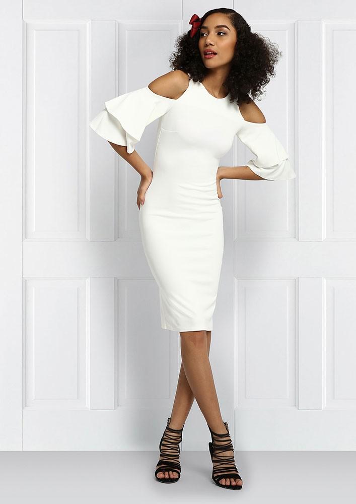 Ivory Cold-Shoulder Dress