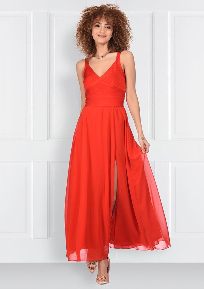 Red Cocktail Midi Dress