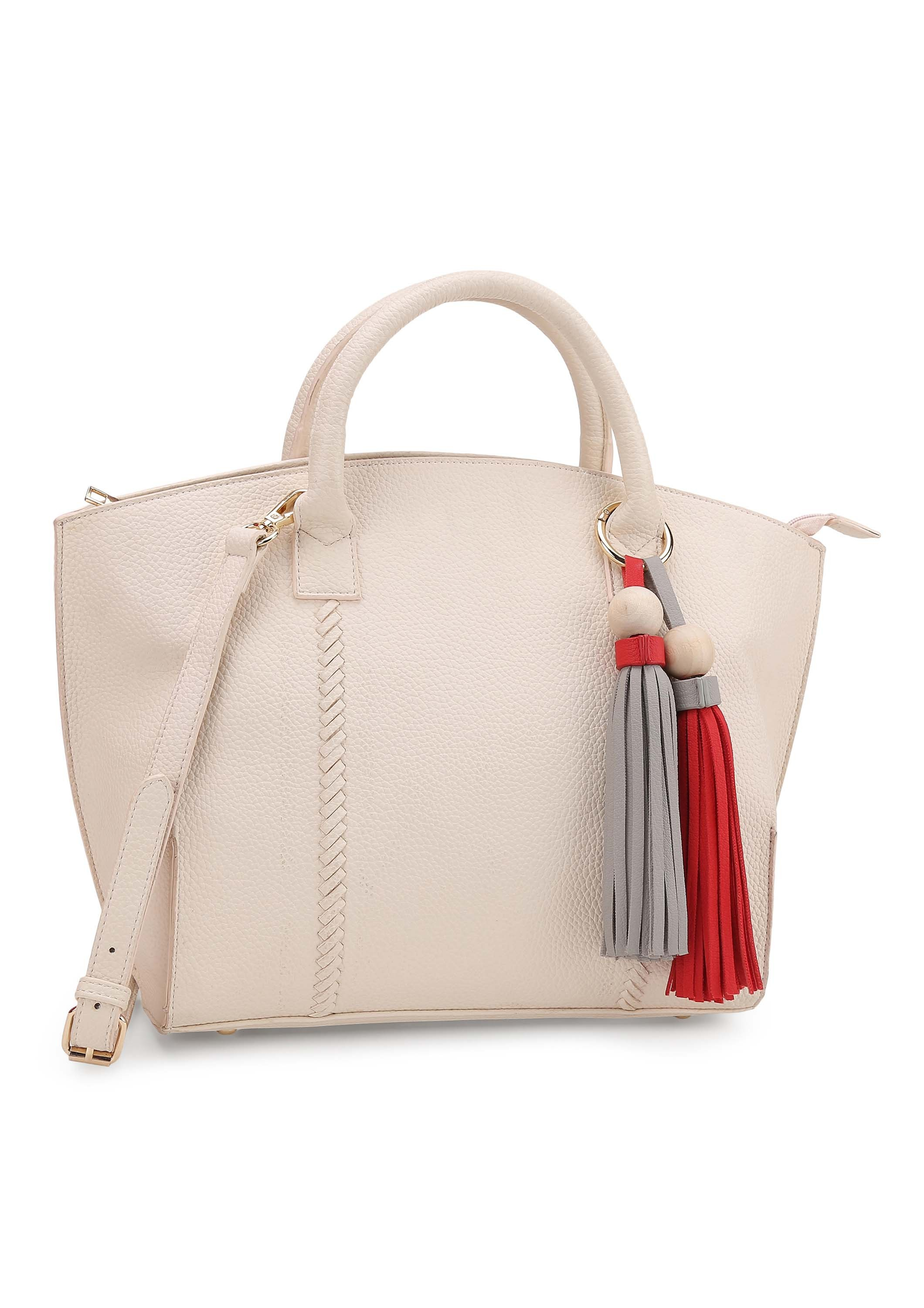 White Tote Bag with Red & Grey Tassles