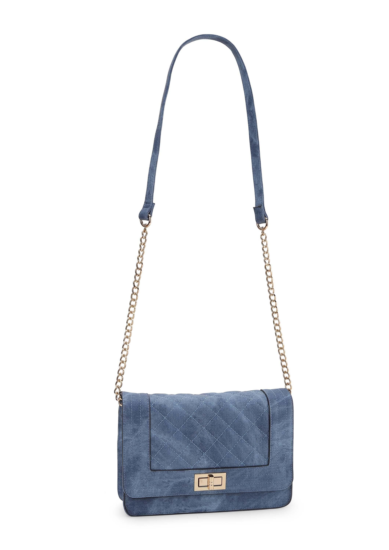 Blue Denim Quilted Sling Bag