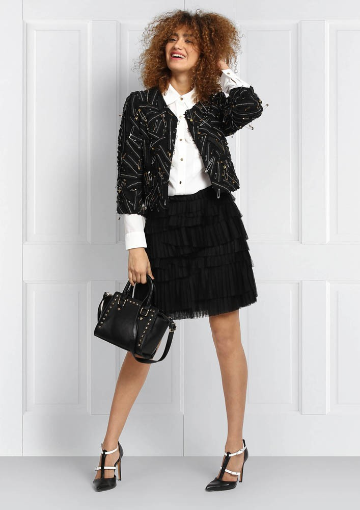 POLY MESH PLEATED SKIRT