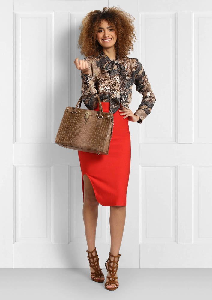 RED PENCIL SKIRT WITH HIGH WAIST BAND