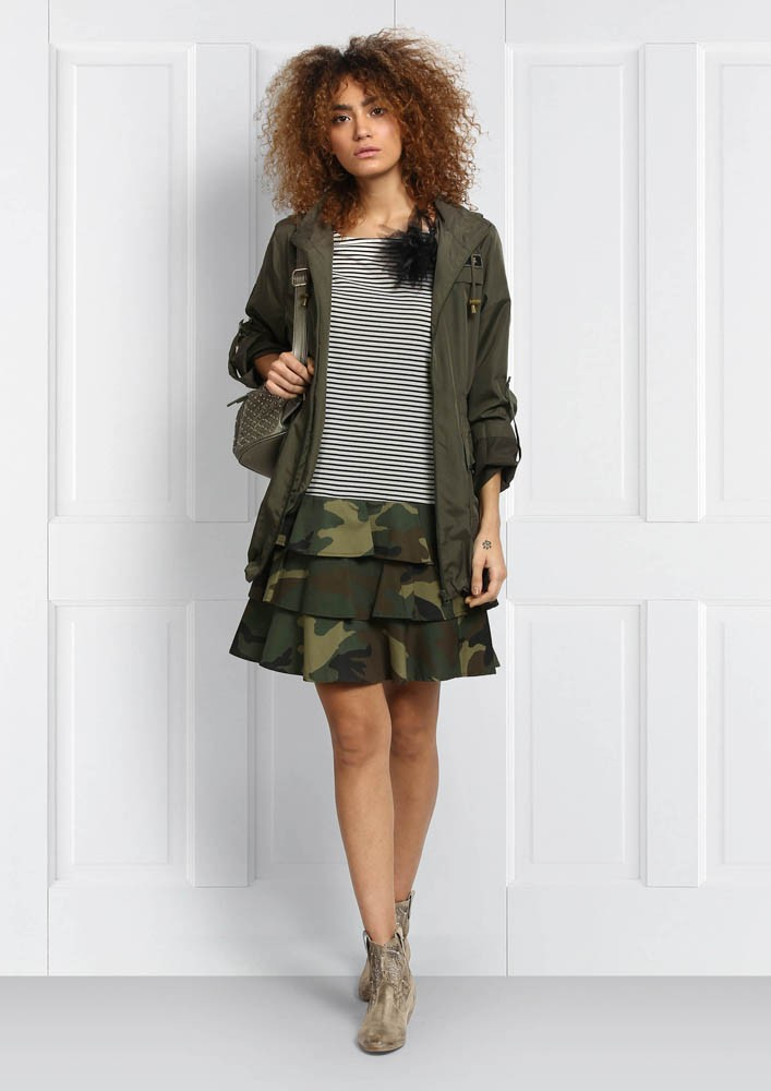 CAMO LAYERED STRIPE DRESS