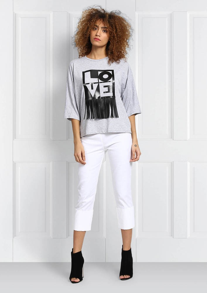 White cropped summer pants