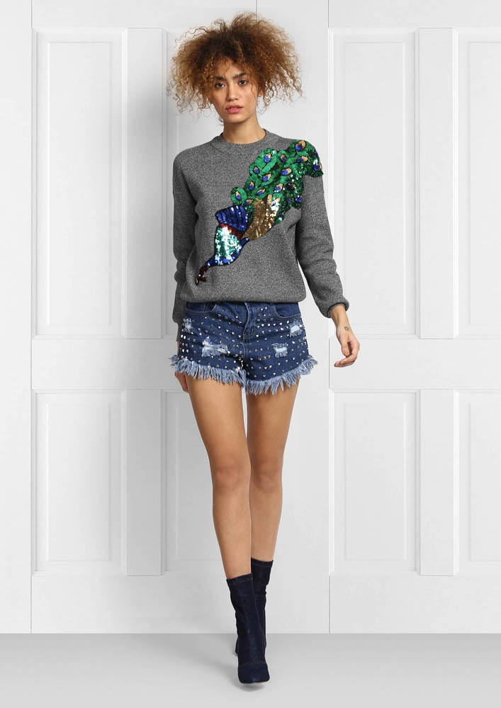 PEACOCK JUMPER WITH SEQUIN DETAIL