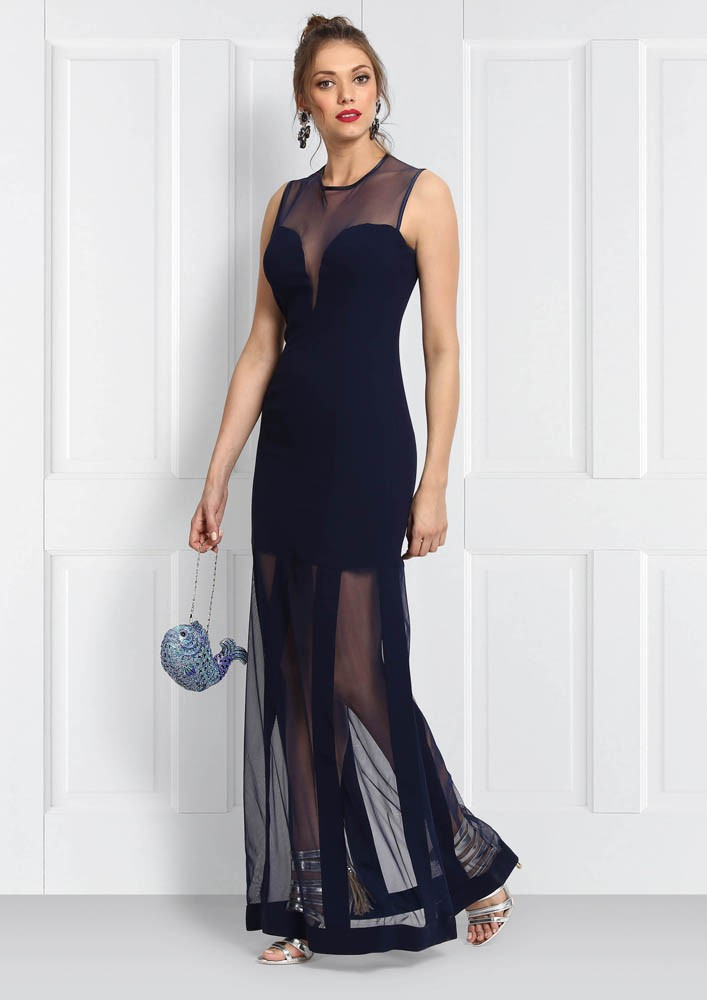 DRESS WITH SHEER PANELS