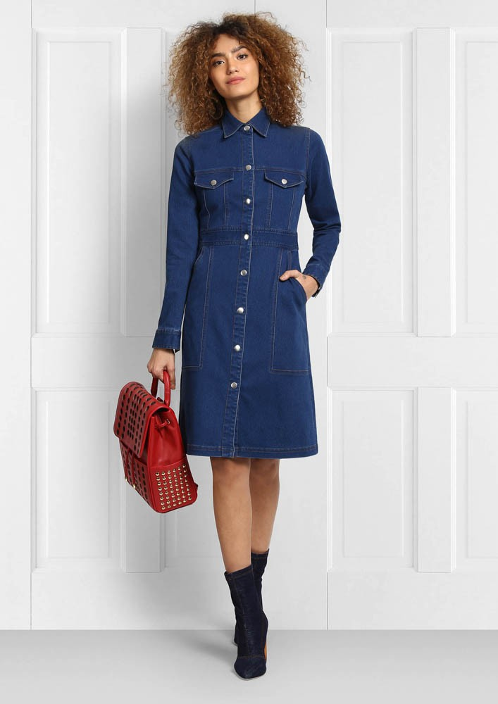 FULL SLEEVE BUTTON DOWN DENIM DRESS