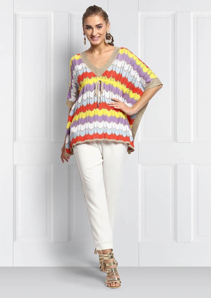 Multi Colored kaftan knit top