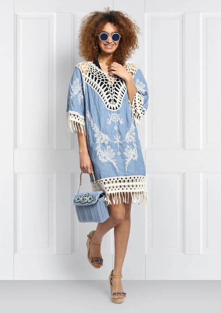 Sky blue bohemian mini dress