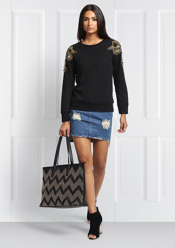Zig Zag Gold Studded Black Tote Bag