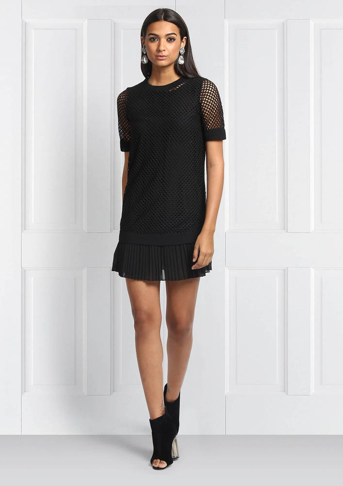 Mesh Dress With Detailed Zippers And Pleats