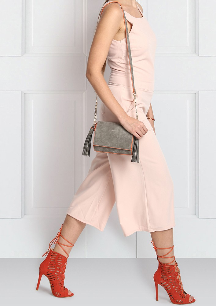 Slate Grey Tasseled Sling Bag