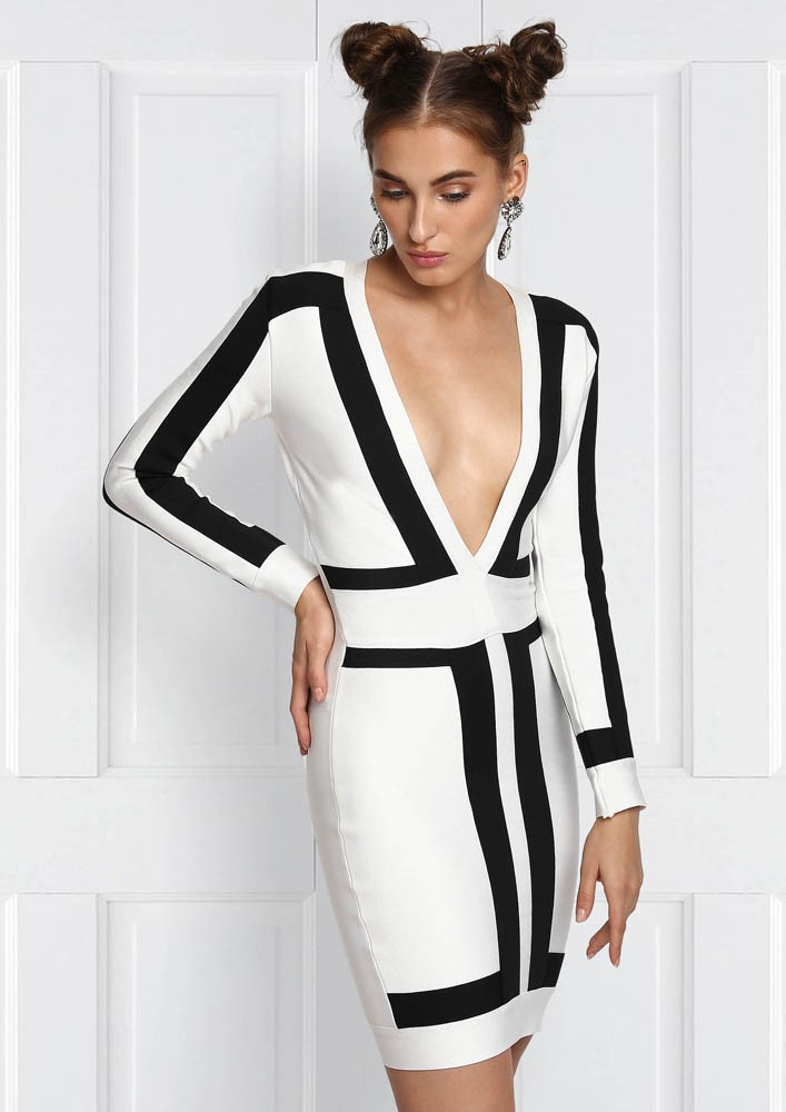 WHITE WITH BLACK BORDER BODYCON