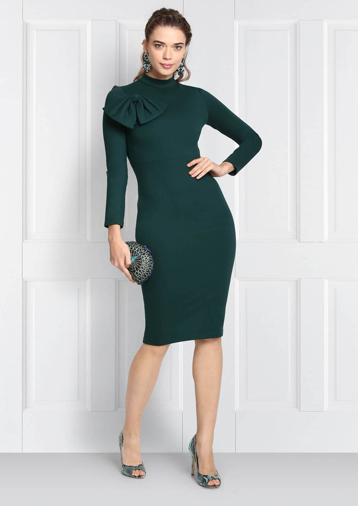 GREEN BODYCON WITH BOW