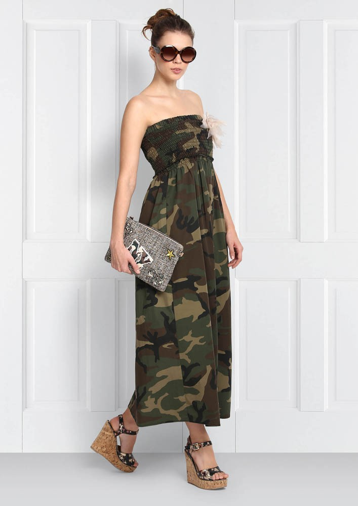 CAMOUFLAGE BUSTIER DRESS