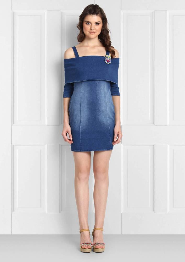 Classic denim off shoulder dress