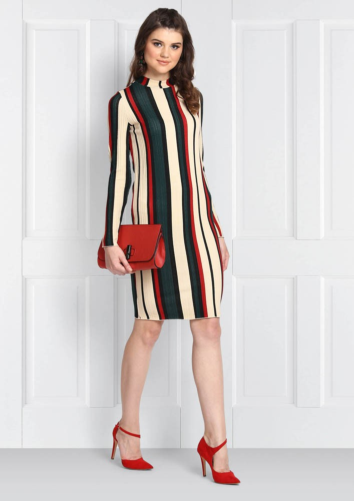 TURTLE NECK STRIPED DRESS