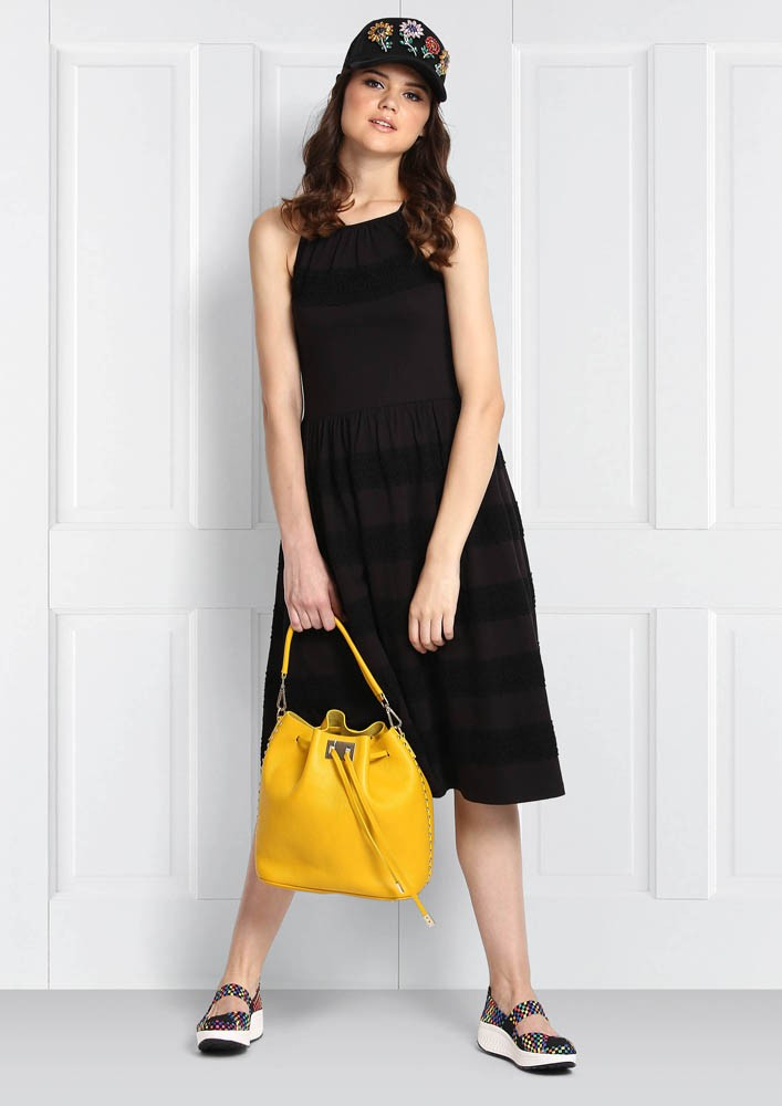 HUES OF BLACK HALTER DRESS