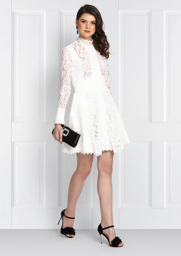 Lace detailed high neck dress
