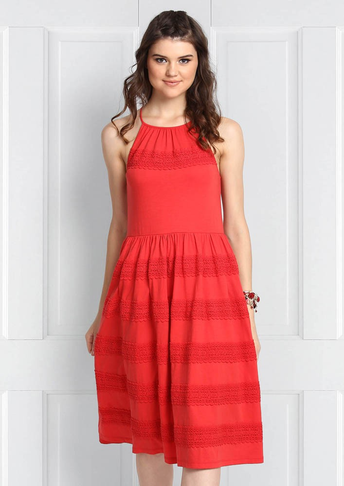 HUES OF RED HALTER DRESS