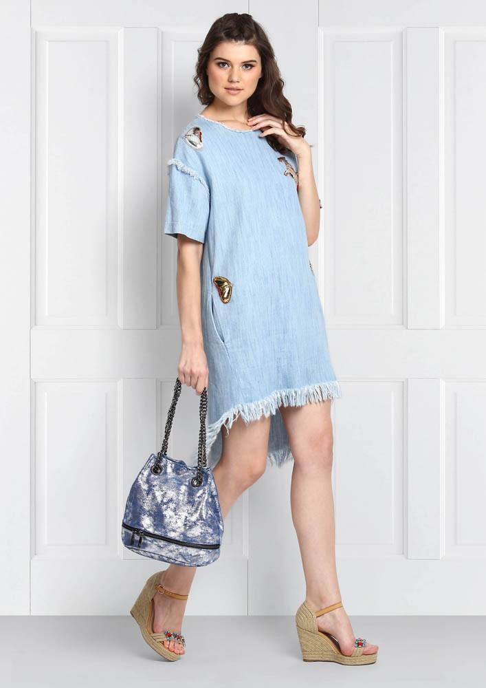 ROSE ROOM PRET - SKY BLUE DENIM DRESS WITH PATCH WORK