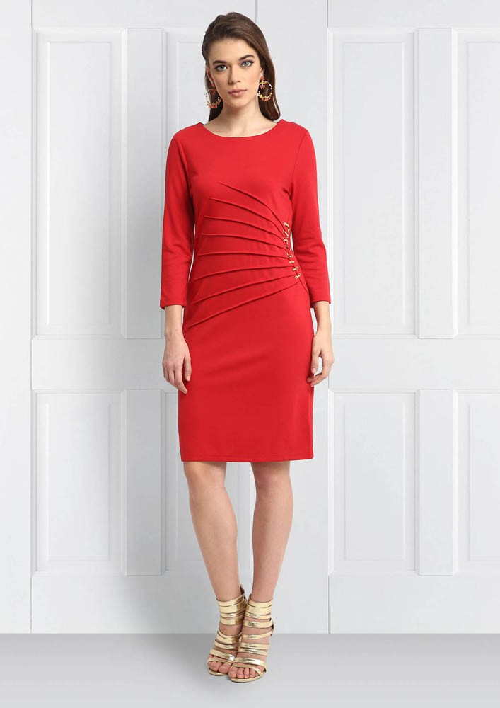 RED RUCHED WAIST WITH METALLIC TRIMS