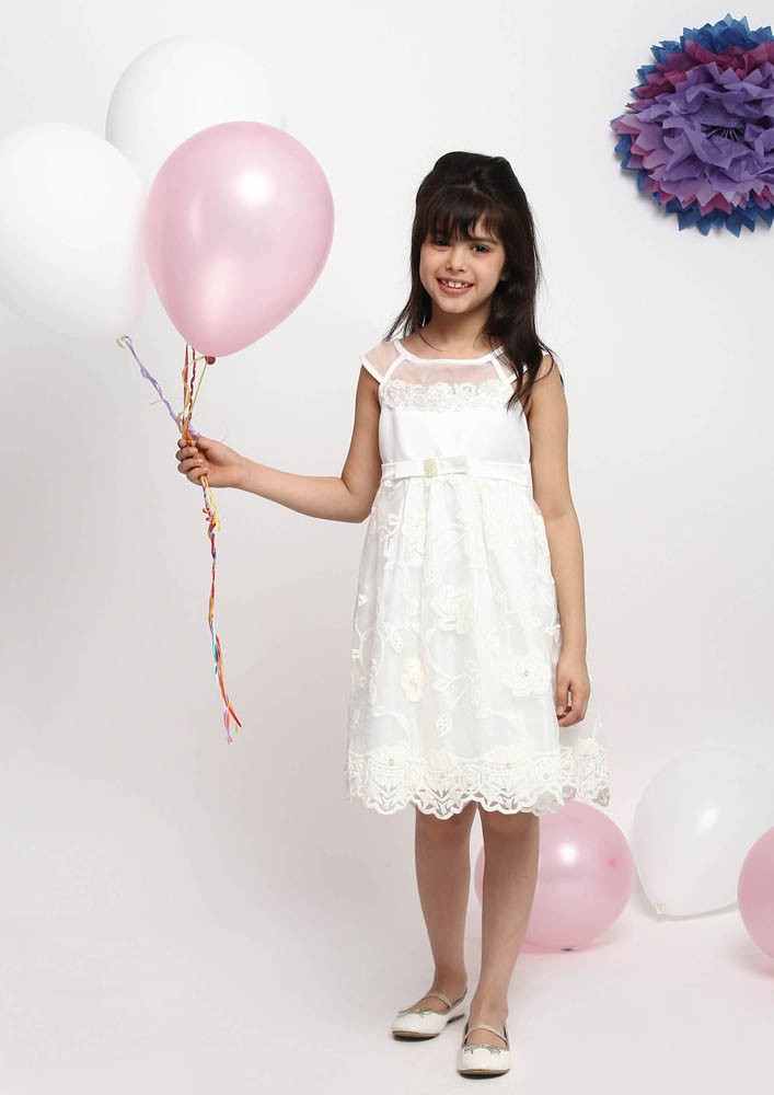 WHITE WHIMSICAL DRESS WITH PEARL TRIMS