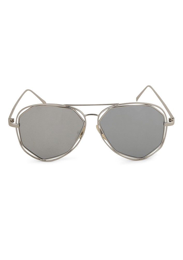 Stop and Stare Square Aviator with Silver Mirror Lens.