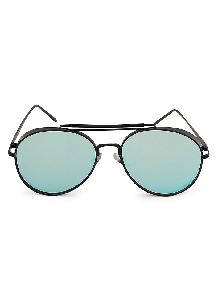 Aviator Metal Sunglasses In Black With Blue Flash Lens