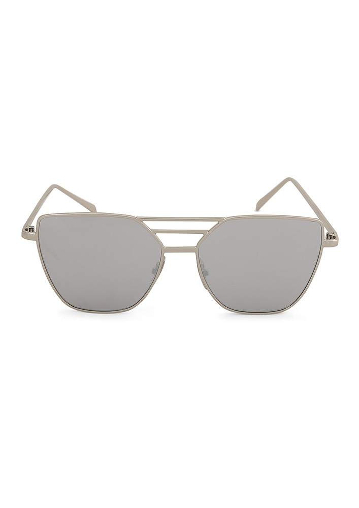 Aviator Sunglasses with Silver Flash Lens and Metal Cut Out Frame
