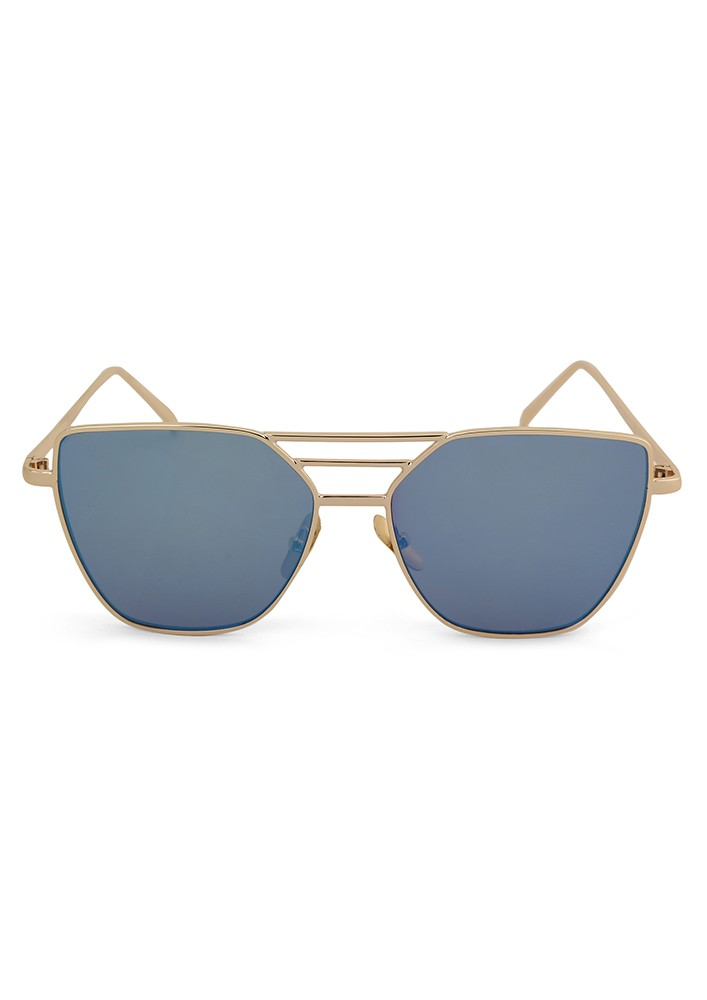 Aviator Sunglasses With Blue Flash Lens and Metal Cut Out Frame