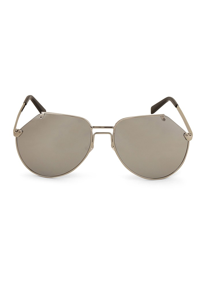 Fine Frame Round Sunglasses With Silver Flash Lens