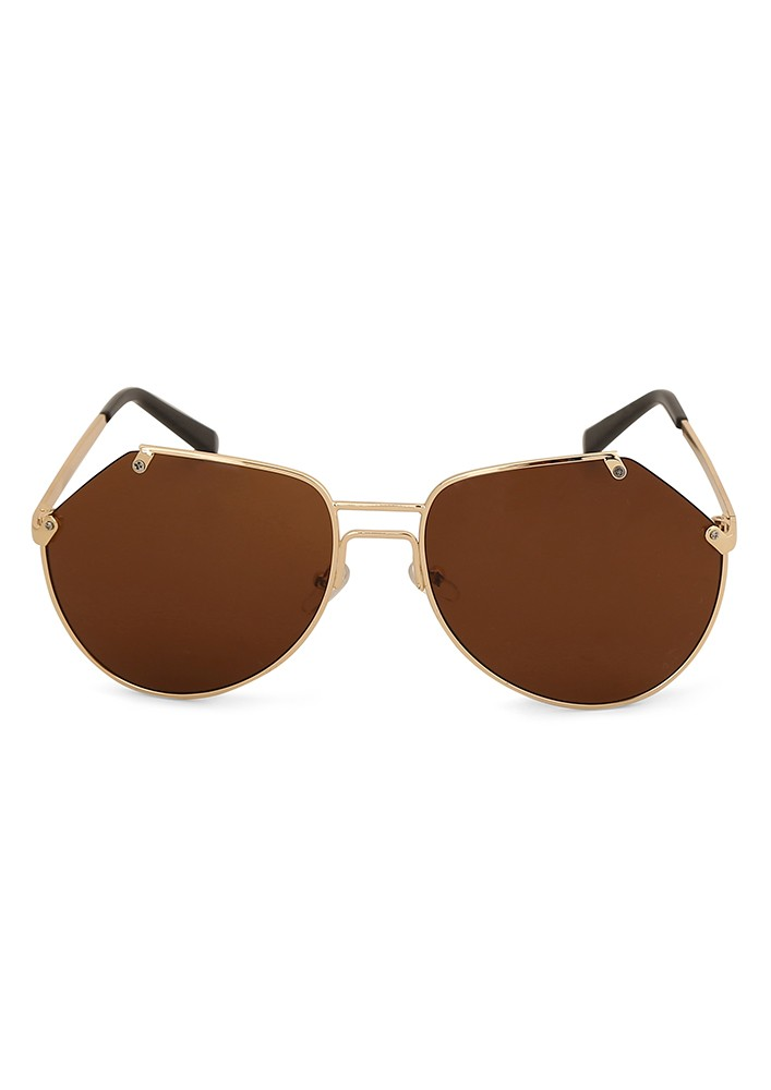 Fine Frame Round Sunglasses With Brown Flash Lens