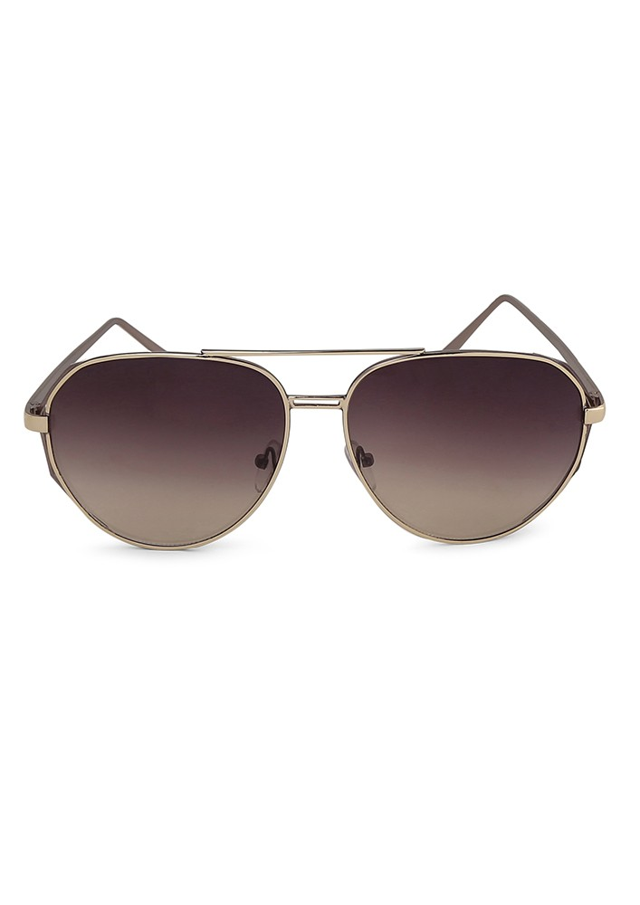 Metal Top Bar Aviator Sunglasses With Black Shaded Lens