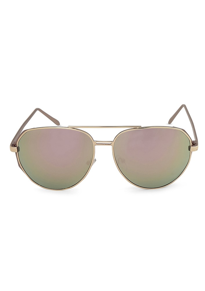 Metal Top Bar Aviator Sunglasses With Lilac Shaded Lens