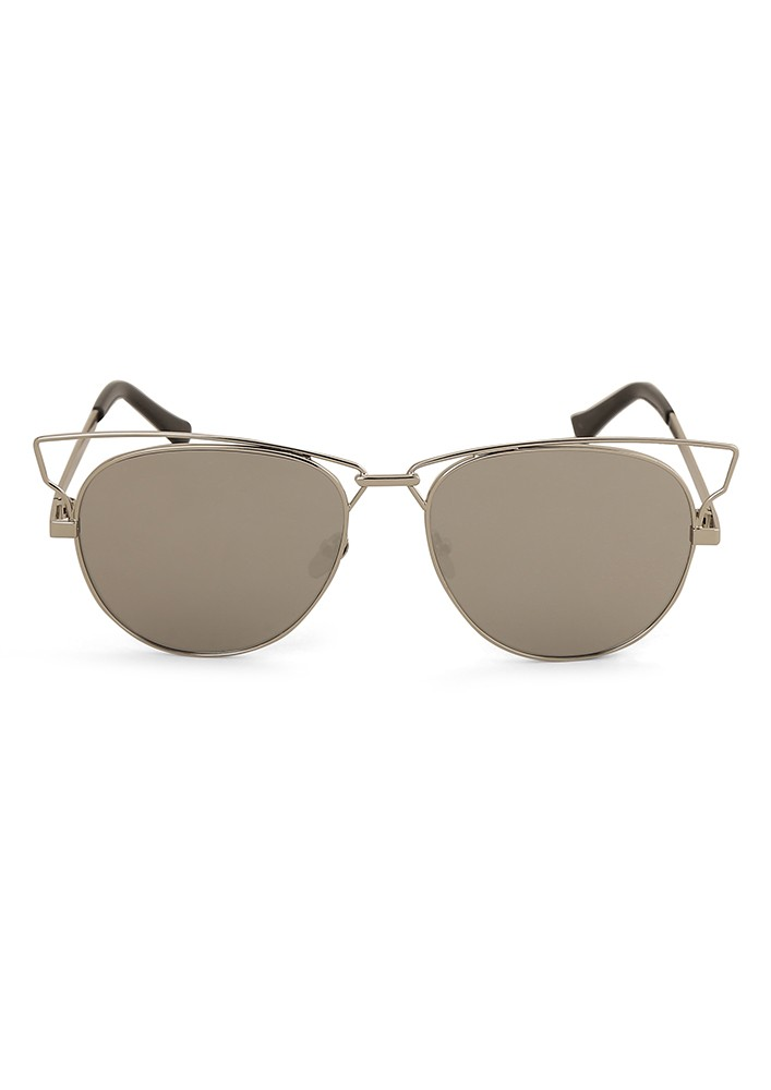 Cat Eye Sunglasses With Cut Away Corner Detail With Flash Lens