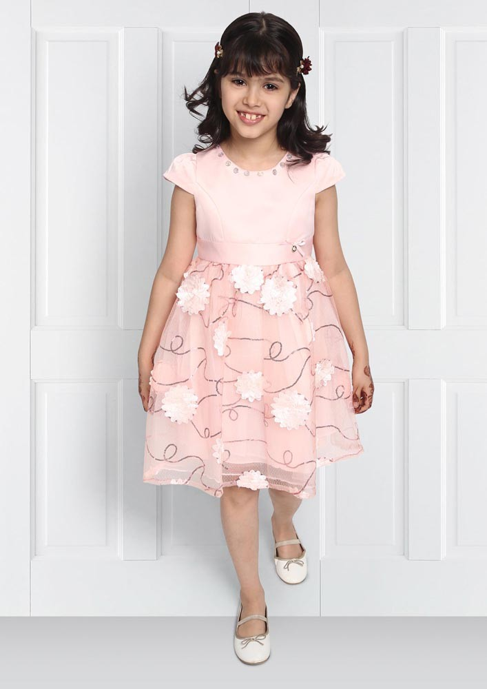 BABY PINK APPLIQUE EMBROIDERED DRESS