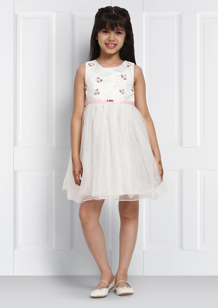 WHITE ROSE BUD DRESS