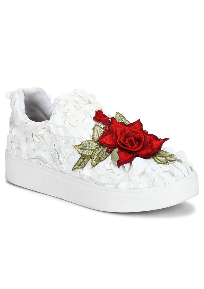FLOWER POWER WHITE SNEAKERS
