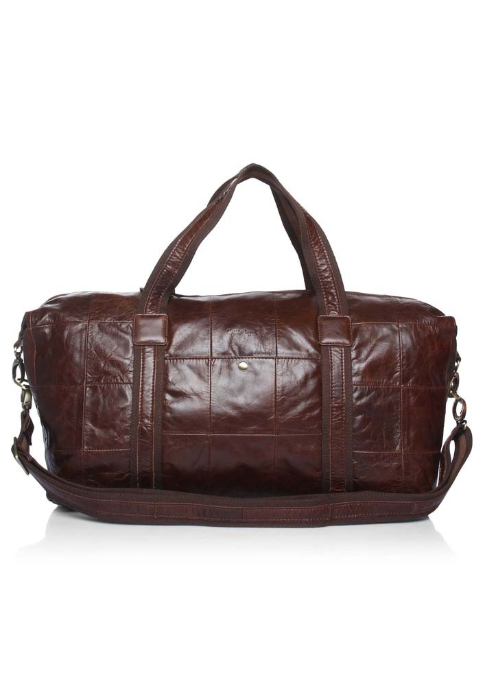 Brown Mahogany Leather Holdall