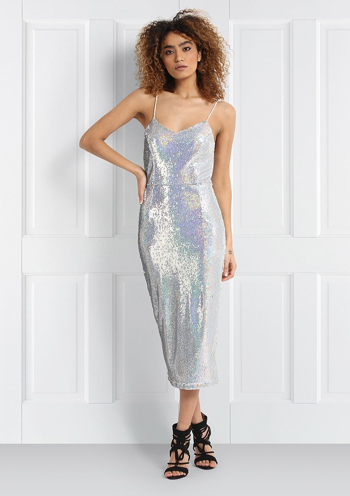Sequined silver midi dress