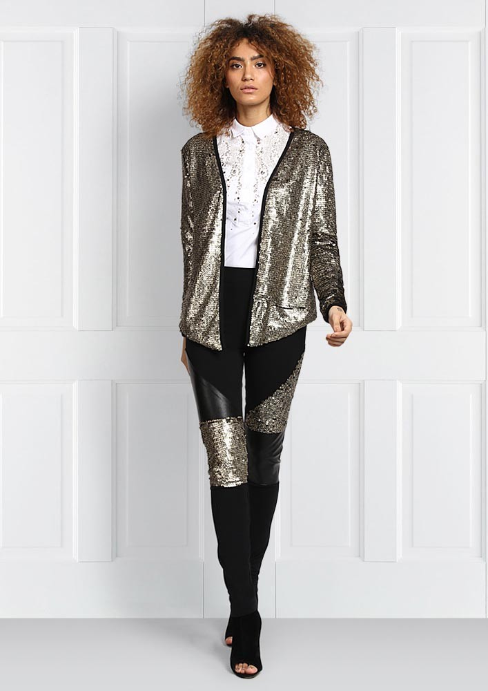 BLACK FAUX LEATHER AND SEQUIN PATCHED LEGGINGS